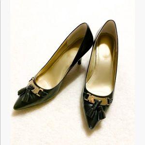 Pointed Toe Leather Heel black with Tassel sz 9
